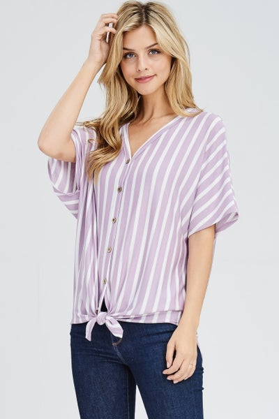 FRONT SELF TIE KNOT STRIPED TOP