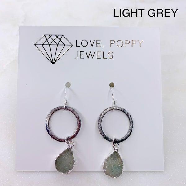 Love Poppy Teardrop Druzy Gunmetal Hoop Earrings - Silver ( 3 Colors)