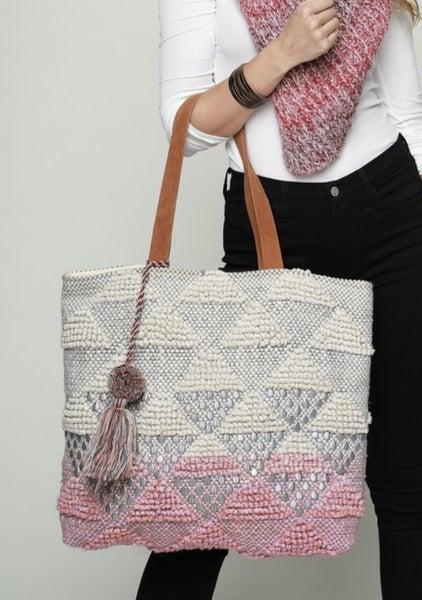 Handwoven Diamond Crochet Tote