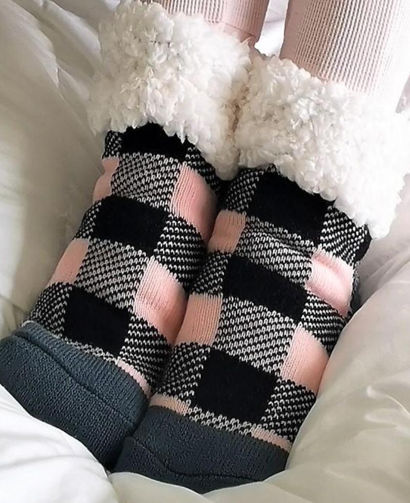 Pudu Blush Buffalo Plaid Slipper Socks