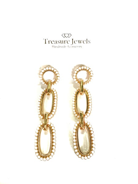 Treasure Jewels Pearl Link Earrings