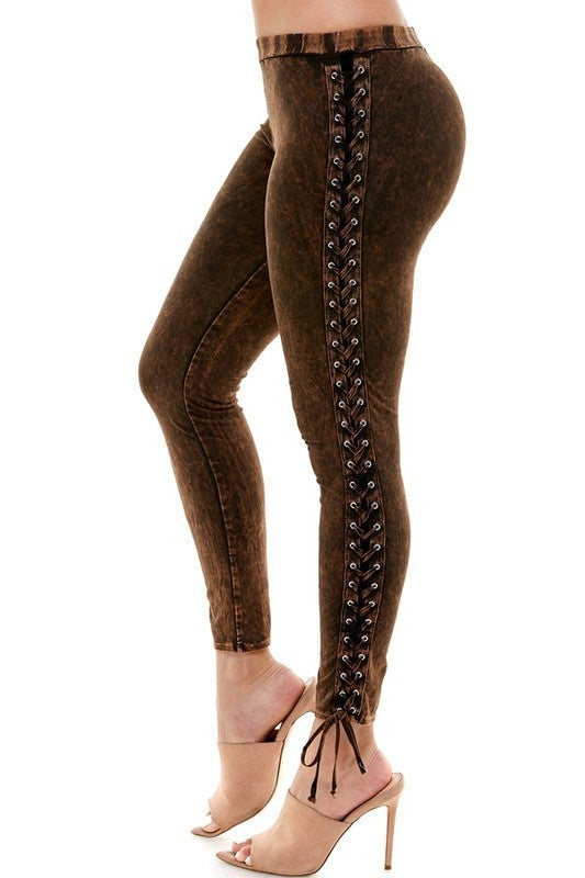 Mineral Lace Up Leggings-2-Colors