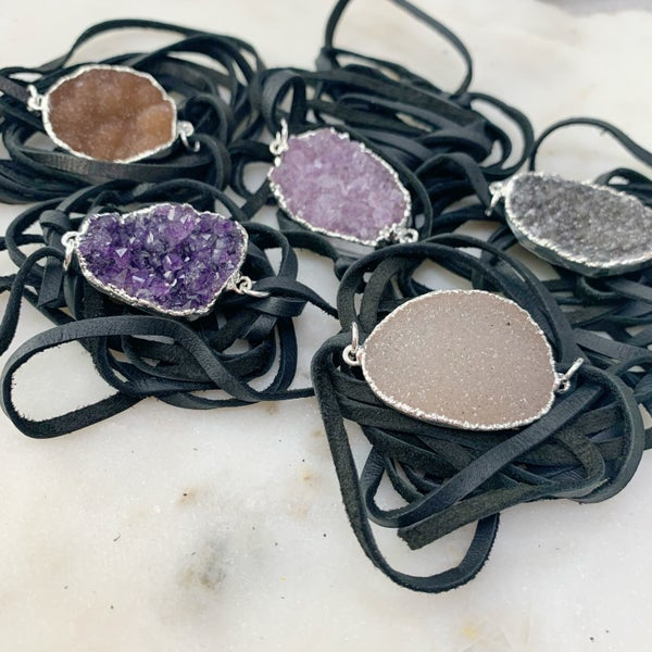 Love Poppy Black Druzy Wrap Bracelet - Silver