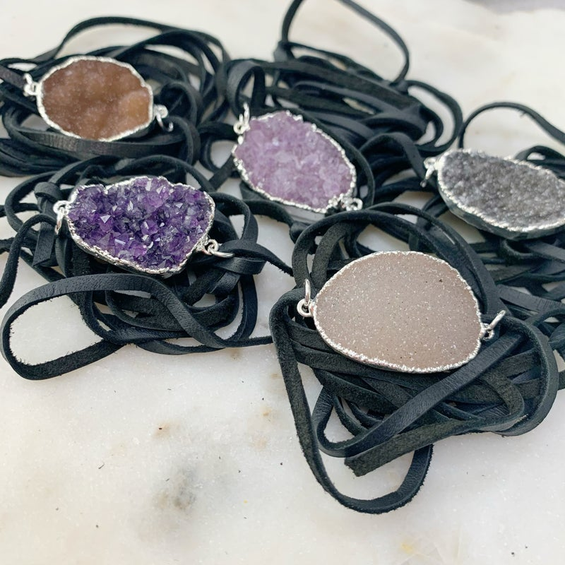 Love Poppy Black Druzy Wrap Bracelet - Silver