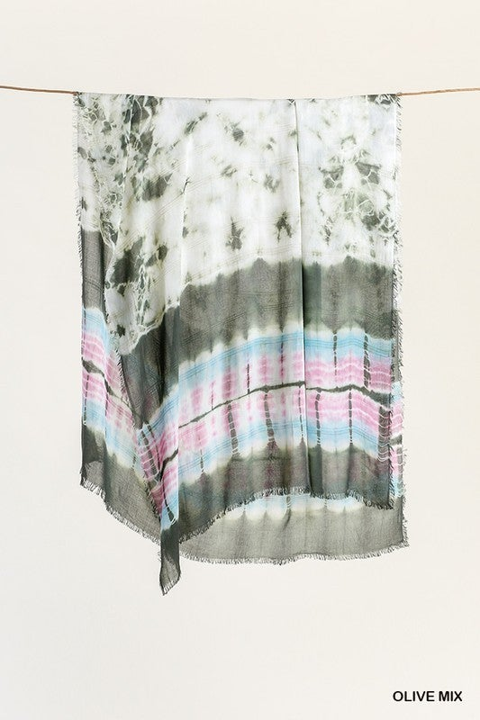 Tie Dye Frayed Scarf - 2 Colors!