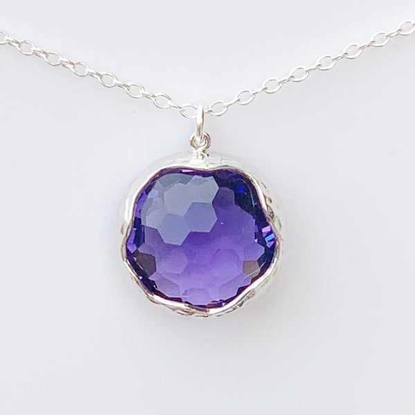 Purple Shine Bright Gem Necklace