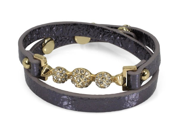Erimish Spike Leather Wrap Bracelet