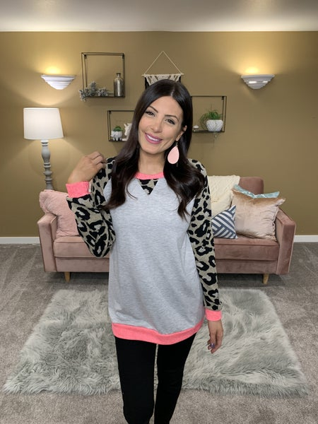 Make Your Heart Sing Leopard Sleeve Top