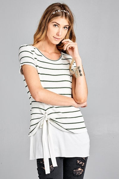 Front tie, striped tee shirt