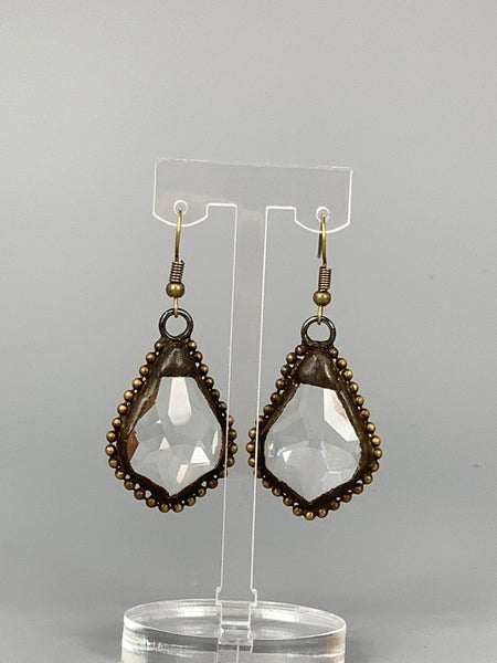 Hand Soldered Crystal Earring with Beaded Edge- Clear