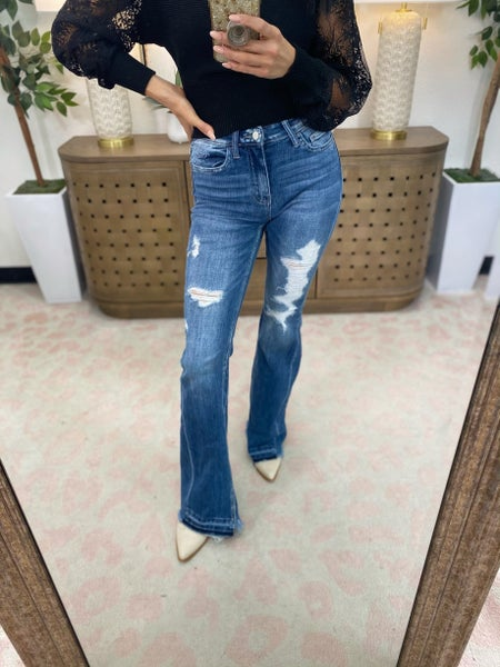 Flying Monkey Saved By The Bell Mid Rise Flare Jeans
