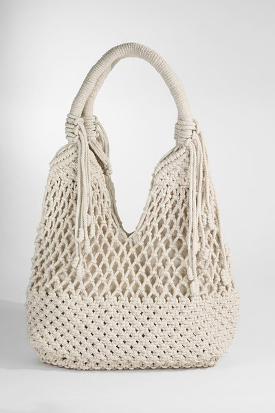 Macrame Canvas Shoulder Bag