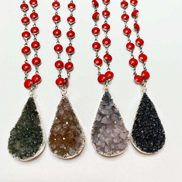 Gun Metal Chain Red Enamel Teardrop Druzy Necklace