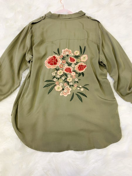 Embroidered, button up, long sleeve top
