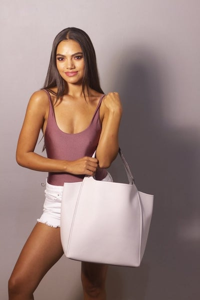 Vegan Leather Tote Bag- Dusty White