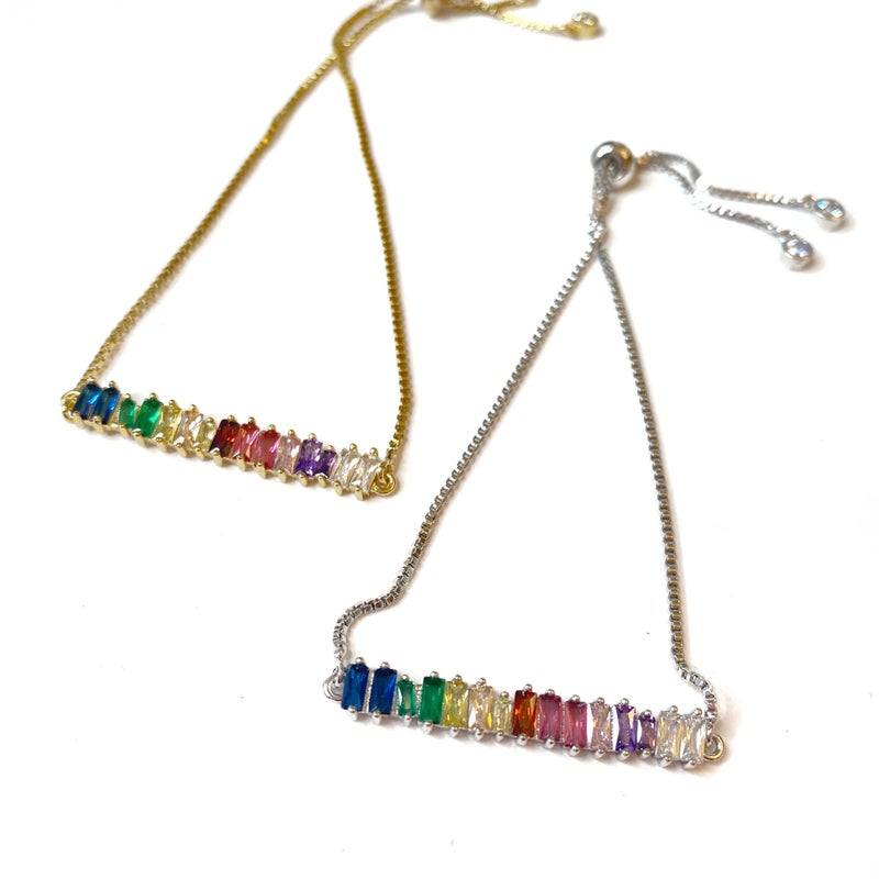 Rainbow Bar Slider Bracelet - 2 Colors!