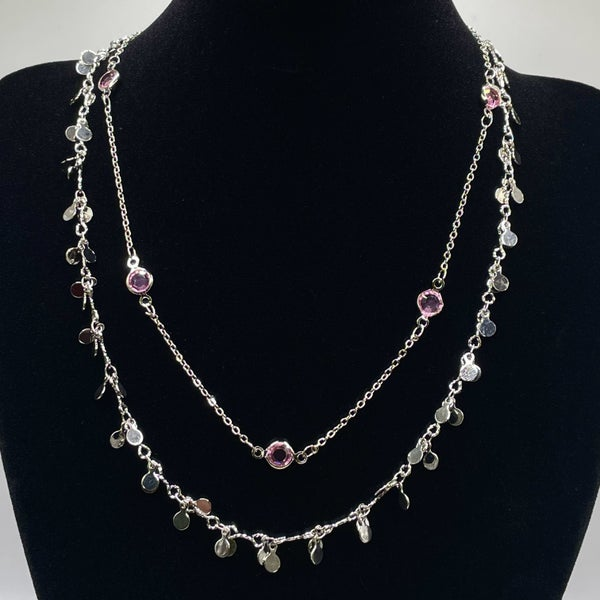 By Alexa Rae x Melania Clara Destiny Necklace Set Silver - Pink