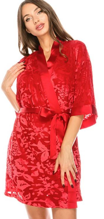 Best Underwear Floral Satin Robe 3 Piece Set - 2 Colors!