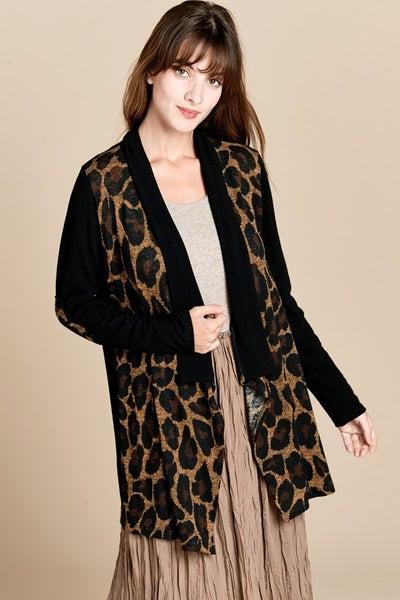Leopard print drape cardigan