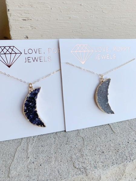 Druzy Moon Necklace