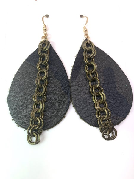Green Camo Leather & Chains Earrings