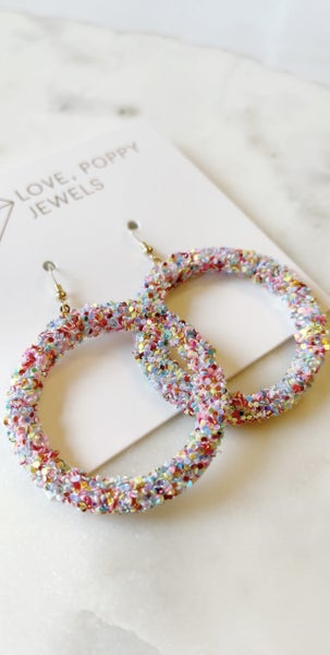 Love Poppy Glitter Hoops