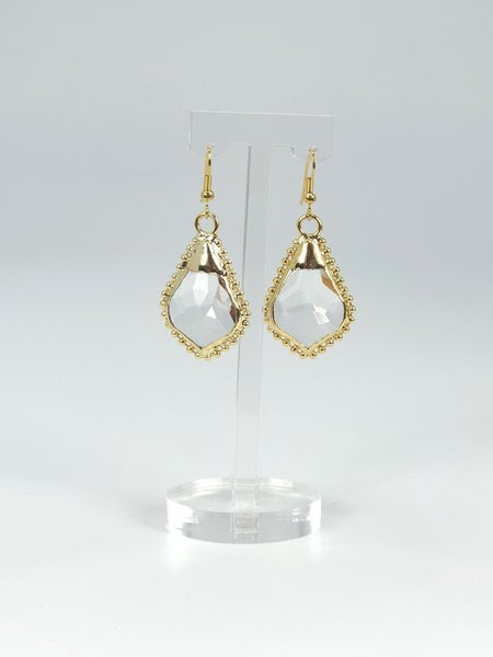 Hand Soldered Crystal Earring with Beaded Edge- Gold