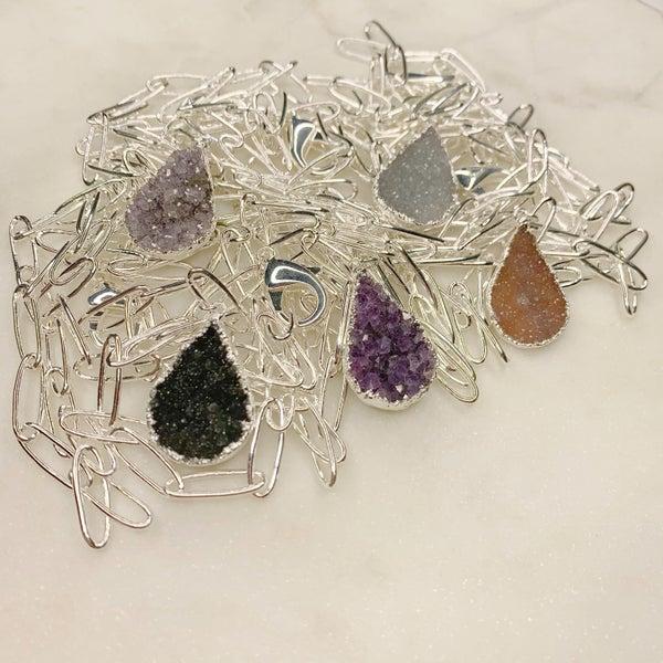 Love Poppy Druzy Y Teardrop Necklace - Silver ( 5 Colors)