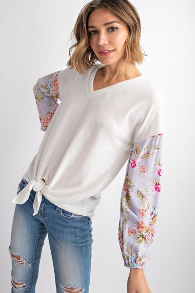 SOLID FLORAL V-NECK FRONT KNOT DETAIL LONG SLEEVE KNIT TOP