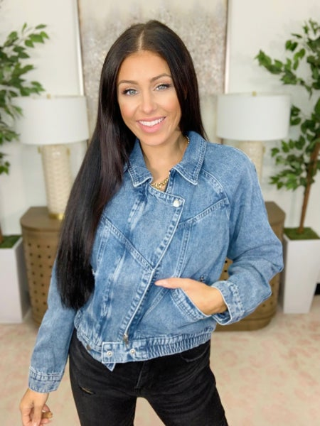 The One That You Love Denim Bomber Jacket