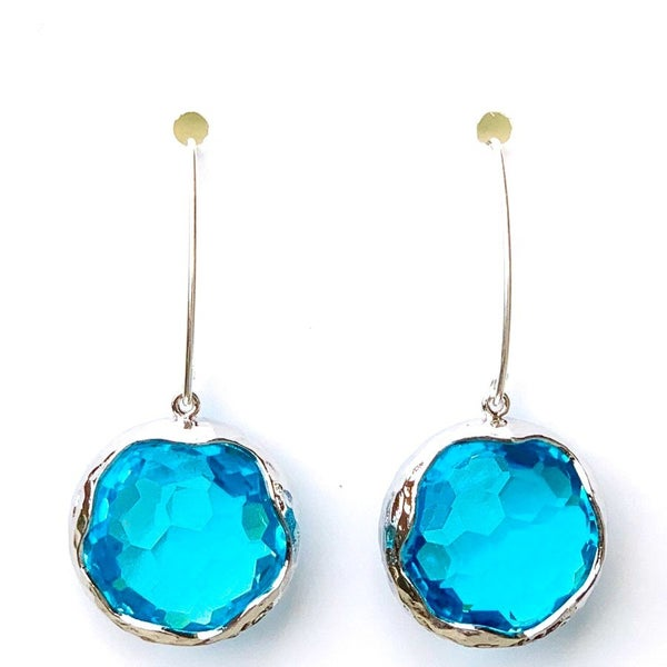 Aqua/Silver Shine Bright Drop Gem Earrings