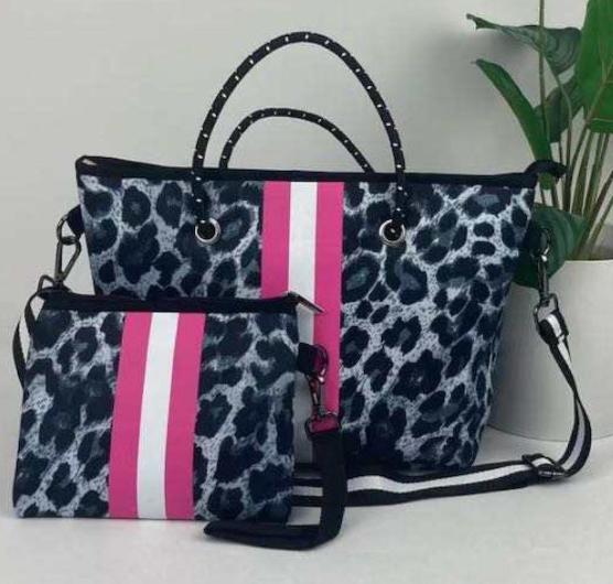 Peace Love Leopard Pink Stripe Mini Crossbody Bag