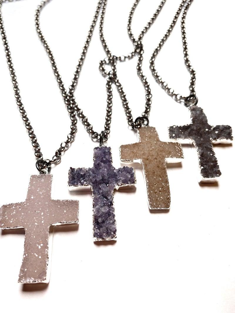 Gunmetal Silver Druzy Cross Necklace - 4 Colors!