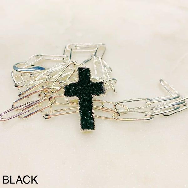 Love Poppy Druzy Y Cross Necklace - Silver ( 5 Colors)