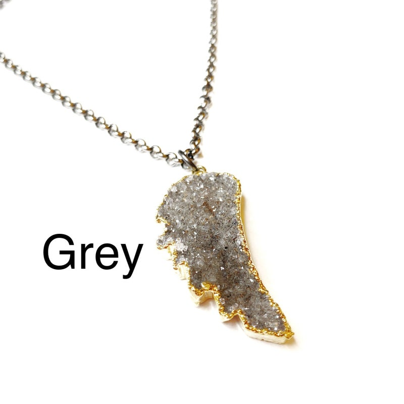 Gunmetal/Gold Angel Wing Druzy Necklace! - 4 Colors!