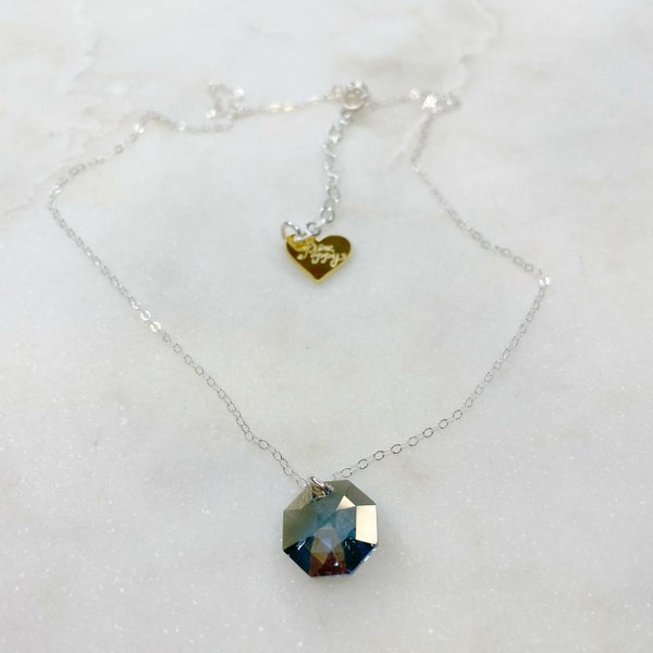 Love Poppy Hexagon Swarovski Necklace - Silver