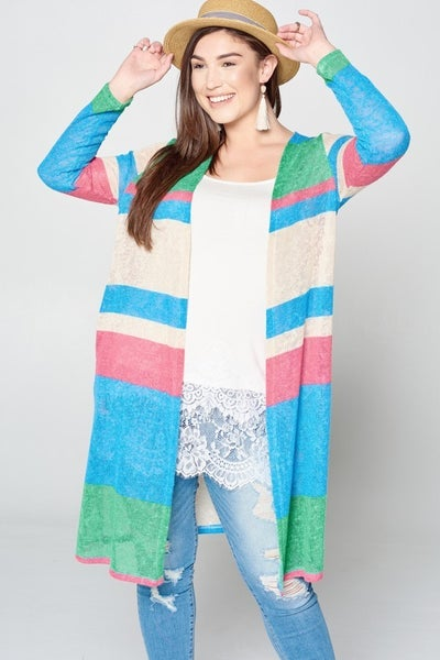 Color block cardigan duster