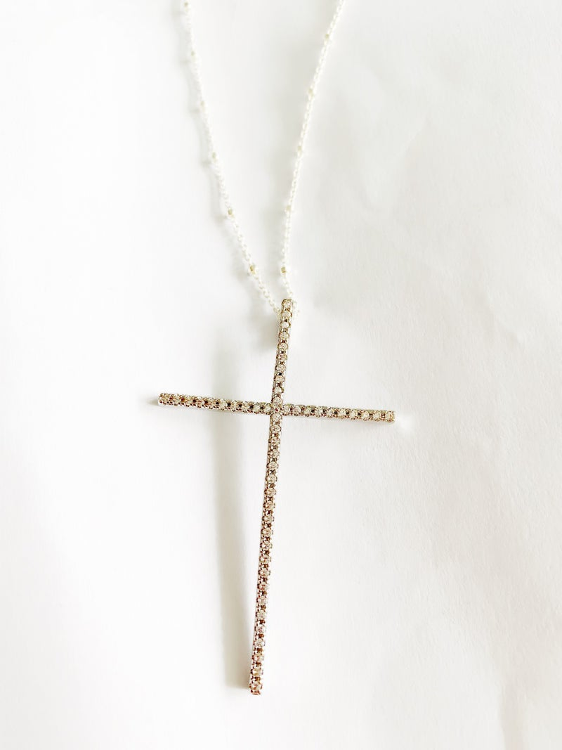Hila Extra Large Cross Necklace - Silver