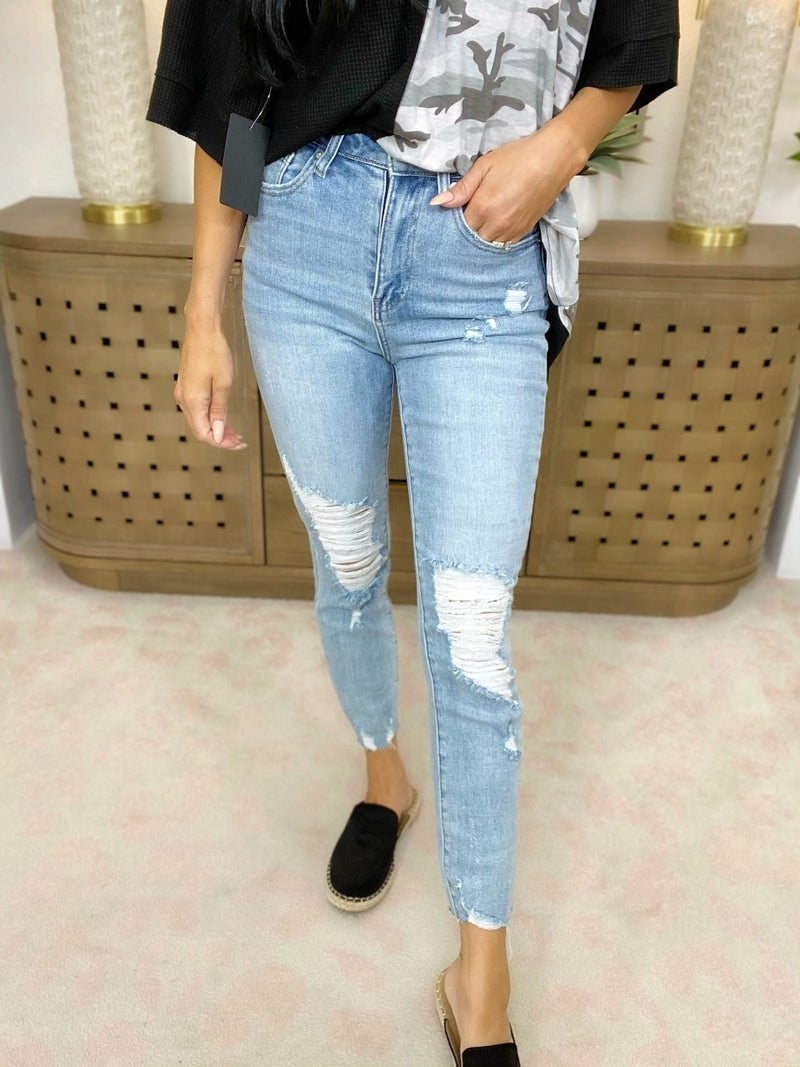 Risen To The Test Distressed Raw Hem Skinny Jeans - 2 Colors!