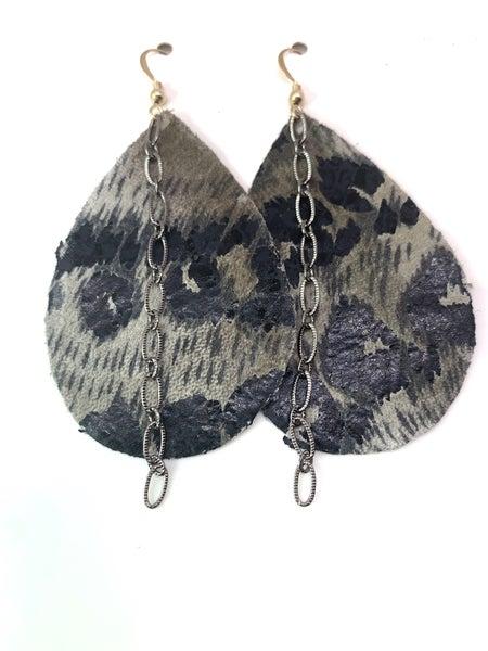 Black Leopard Leather & Chains Earrings