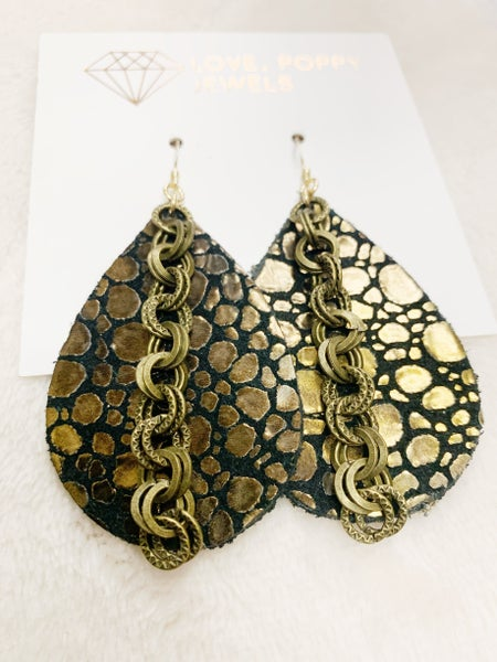 Bronze Croc Leather & Chains Earrings