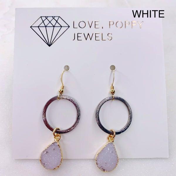 Love Poppy Druzy Gunmetal Hoop Earrings - Gold (3 Colors)