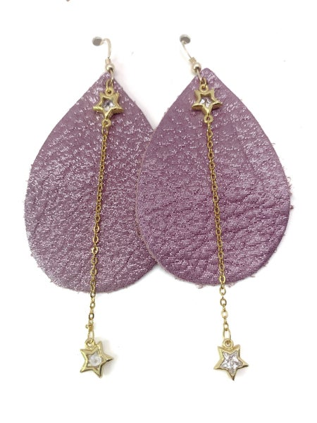 Pink/Purple Shimmer- Leather And Chains Earrings