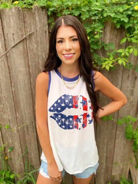 American Flag Lips Tank