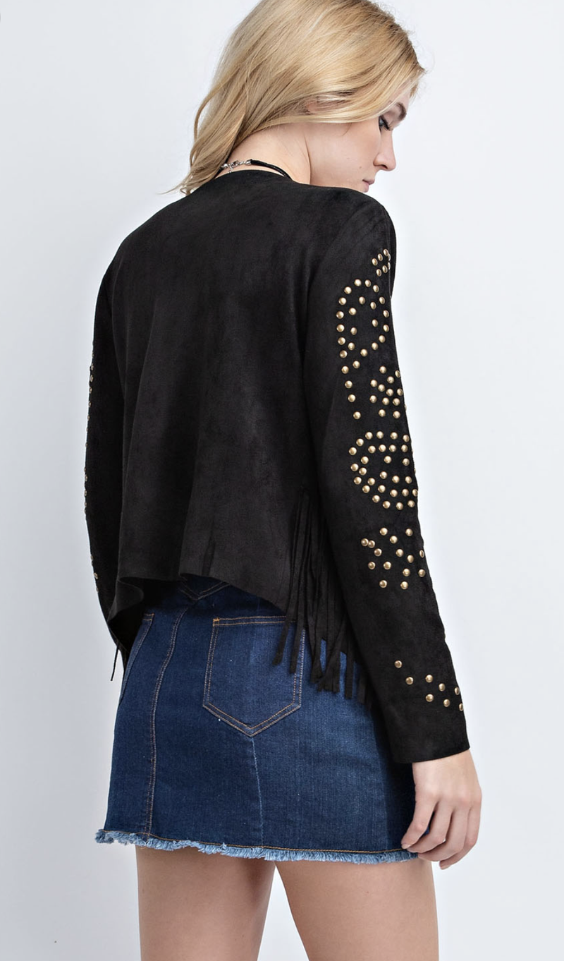 Tell Me About It Stud Suede Jacket