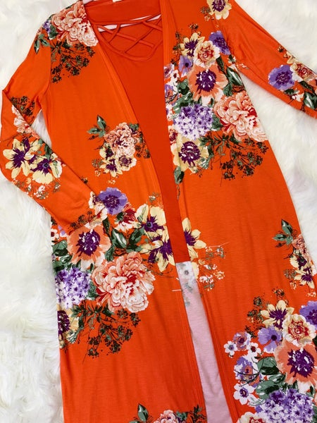 Floral print duster cardigan
