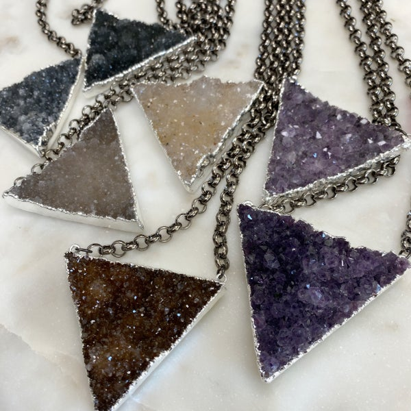 Custom XL Druzy Triangle Necklace - Silver (7 Colors)