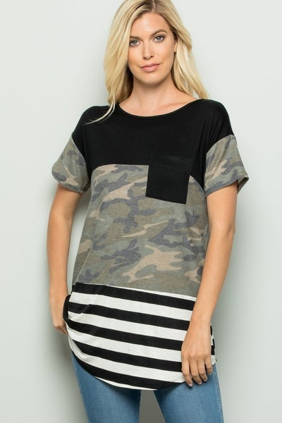 CAMO STRIPE COLOR BLOCK TOP WITH LACE BACK