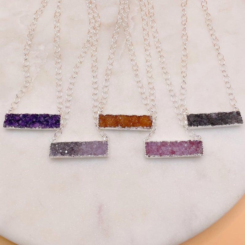 Custom Bar Druzy Necklace - Silver (7 Colors)