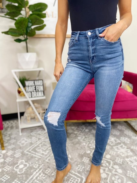 Straight To The Top Distressed High Rise Jeans - Light